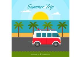 以复古大篷车为背景的夏季旅行_888231