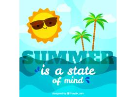 以夏日为背景阳光明媚的日子里有海滩_1194751
