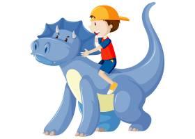 骑着隔离在白色背景上的恐龙卡通人物的男孩_9135952