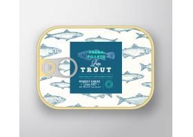 鱼罐头标签模板带标签盖的抽象鱼铝制容器_9952224