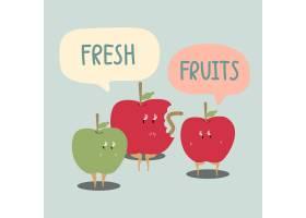 鲜红绿苹果卡通人物矢量_3463020