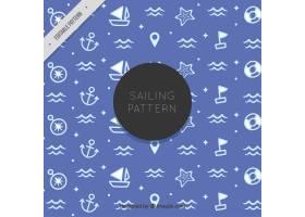 蓝色图案配以白色水手图案_880654