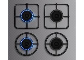 蓝色火焰的煤气灶厨房炉具有亮着的和关_10798253