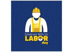 蓝色背景上有工人的劳动节_1102987