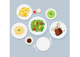蓝色背景上的不同种类的食物_4804974