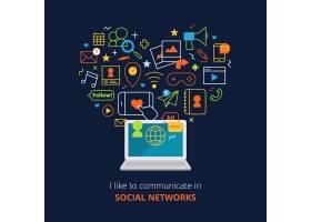 设置了电脑和网络线条抽象图标的社交媒体海_2871393