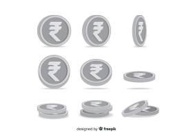 设置在不同位置的印度卢比硬币_3454633