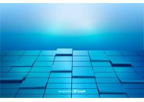 蓝色逼真立方体地板背景_5759251