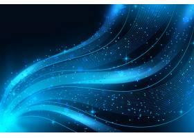 蓝色闪亮的波浪背景_6390943