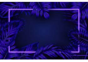 蓝色霓虹灯边框的逼真树叶_6906981