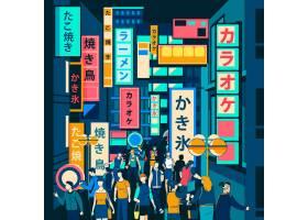 站在现代日本街道上的人们_9979221