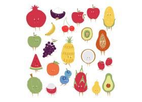 热带水果卡通人物向量集_3463017