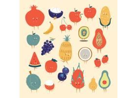 热带水果卡通人物向量集_3463018