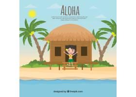 热带风景背景女孩在小屋里_1160822