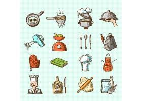 烹饪过程美味的素描彩色图标设置在正方形背_1158775
