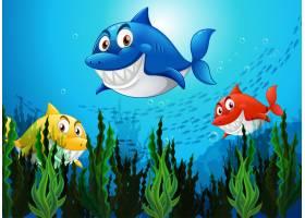 水下背景中的许多鲨鱼卡通人物_12364873