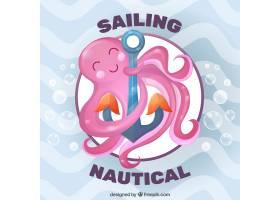 漂亮的粉红色章鱼背景是锚_879680