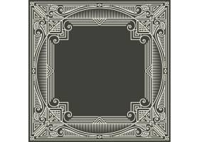 深灰色背景上的花卉和几何字母框字母设计_4328364