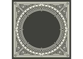 深灰色背景上的花卉和几何字母框字母设计_4328384