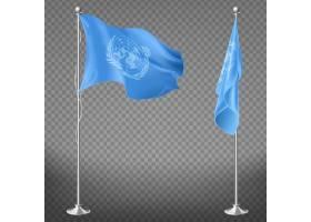 旗杆上的联合国组织旗帜被隔离在透明背景上_4758696