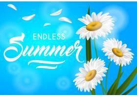 无尽的夏季季节横幅天蓝色背景上有洋甘菊_2540653