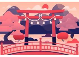 日本鸟井门和粉红色的树_9798001