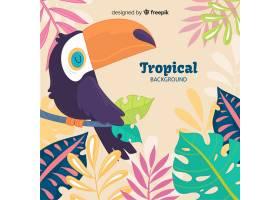 手绘热带植物和鸟类背景_4393387