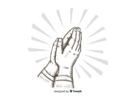 手绘祈祷手背景_3526335