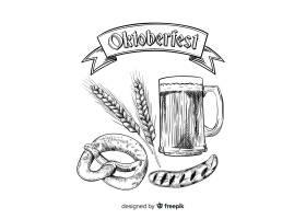 手绘背景的啤酒节概念_5410684
