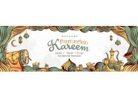 斋月卡里姆白色垃圾背景上手绘伊斯兰插图_7475755