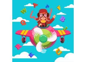快乐微笑的孩子像真正的飞行员一样驾驶飞机_1311590