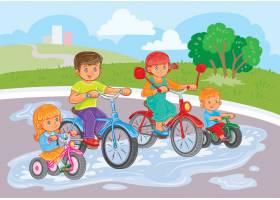 小孩子们在公园里骑自行车_1215635