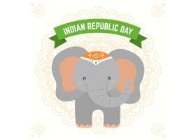 平坦的印度共和国日配有大象插图_6366651