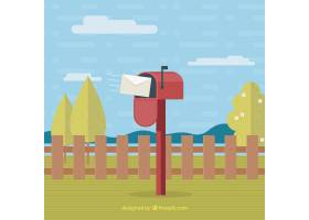 平面设计的红色信箱景观_1064011
