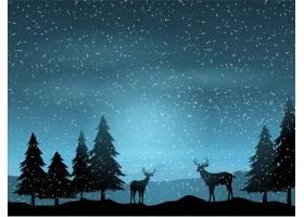 风景背景上的驯鹿剪影_827665