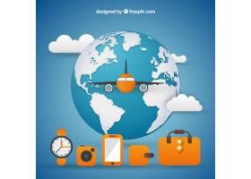 飞机和旅行元素的世界背景_1172362