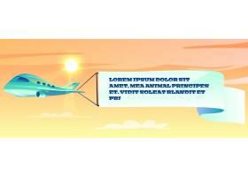 飞机插图上的广告横幅一种飘扬的波浪旗的_3090773
