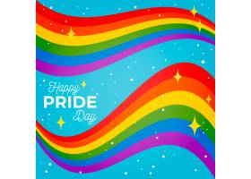 骄傲日蓝色背景上闪闪发光的旗带_7770597