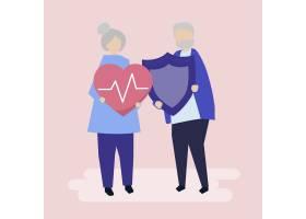 高龄夫妇手持医疗保险图标_3585202