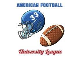 白色背景上印有美式橄榄球号码和球的蓝色头_10600324