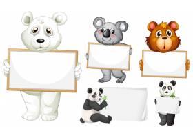 白色背景上有许多动物的空白标志模板_8582691