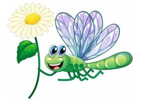 白色背景上的蜻蜓手持鲜花_8700474