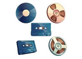 白色背景下隔离的音乐和声音的复古媒体存储_4758477