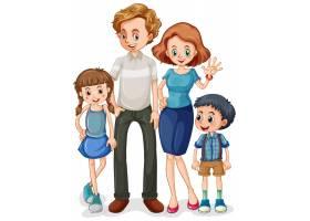 白色背景的家庭成员卡通人物_8395495