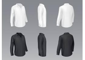 黑白男士经典衬衫女式衬衫_4015097
