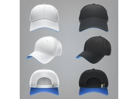 黑白相间的纺织棒球帽前后和侧视图的矢量_1320575