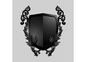 黑色巴洛克盾牌元素矢量_3759335