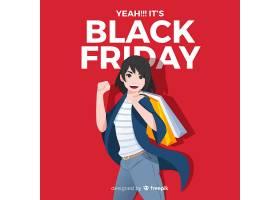黑色星期五促销背景与女孩购物_3210538
