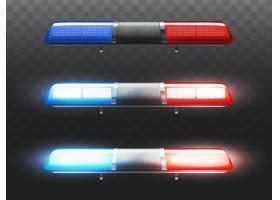 警车3D真实感红色和蓝色LED闪光灯市政服_3519625