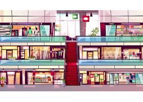 购物中心商店内部的插图中间有自动扶梯_3519518